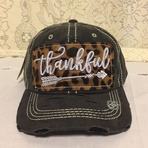 Thankful Embroidered Distressed Baseball Cap Black